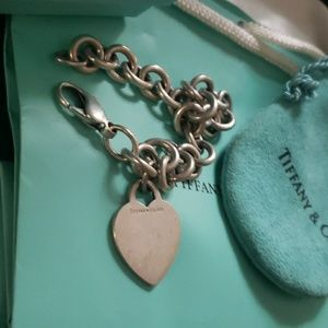 Authentic Tiffany Stirling silver heart bracelet